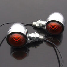 2x Bullet Motorcycle Universal Turn Signal Indicator Amber Blinker Lights Chrome