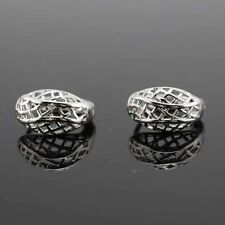 """Pretty New 18k White Gold Filled Nicely Cutout 14mm / 1/2"""" Mini Hoop Earrings"""
