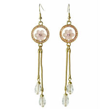 Boucles d'oreilles plaqué or cristal Swarovski fleur rose longues et gouttes