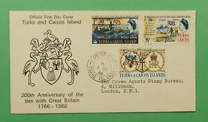 DR WHO 1966 TURKS & CAICOS ISLANDS FDC 200TH ANNIV TIES GB C241598