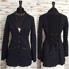FREE PEOPLE Brocade Victorian Military Steampunk Jacquard Lace Up Jacket Size 6