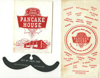 VTG 1959 UNCLE JOHN'S PANCAKE HOUSE MENU, NAPKIN &MUSTACHE! BREAKFAST RESTAURANT