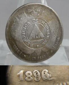 Honduras 1896/1896/??? One 1 Peso Triple Over-Struck Silver Coin C1680