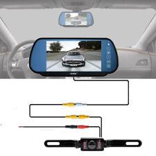 "7"" TFT LCD Monitor Mirror + Car Truck Backup Camera Wired RCA Kit Night Vision"