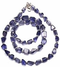 Natural Gemstone Iolite Faceted Nugget Beads Necklace 21 Inch Water Sapphire