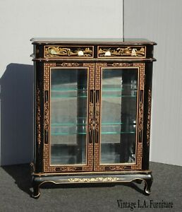 Vintage Oriental Asian Black Chinoiserie Display Case Curio Cabinet w Shelves