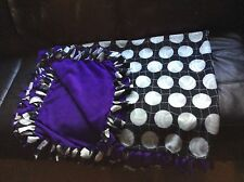 """purple hand tied volleyball fleece blanket, double-layered 51"""" by 70"""""""