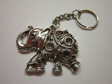 Key Chain Ring silver tone  lucky elephant charm pendant gift accessory