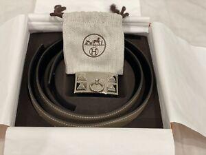 Hermes 32mm Reversible Belt Black/Etoupe Size85 Collier de Chien PHW Buckle