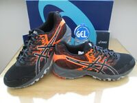 ASICS GEL-SONOMA 3 MENS  BLACK ORANGE TRAIL RUNNING TRAINERS SIZE UK 8.5 EU 43.5