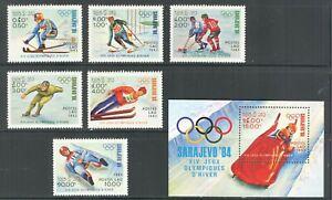 LAOS 1983, SPORT: SARAJEVO WINTER OLYMPIC GAMES, Scott 473-479, SET + S/S,  MNH