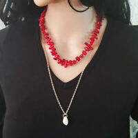 Summer Women Trendy Necklace Natural Coral Bohemian Holiday Chain Shell Pendant