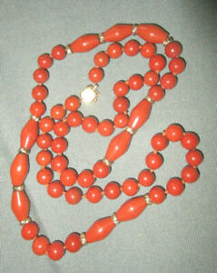 14K Catch Orangish Stone Beads 14K Spacer Beads
