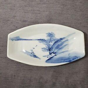 Blue White Ceramic Trinket Jewelry Dish Asian River Waterfront Landscape Scene