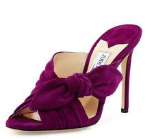 JIMMY CHOO Purple Madeline Keely Suede Bow 100mm Slide Sandal Heels 8