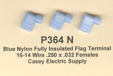 50 Blue NYLON Fully Insulated FLAG Terminal Connectors 16-14 Wire .250 Fem MOLEX
