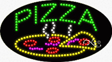 "New ""Pizza"" Logo 27x15 Oval Solid/Animated Led Sign W/Custom Options 24601"