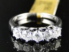 14K White Gold Ladies 5 Stone Diamond Engagement Wedding Band Ring 1.03 Ct