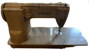 1950's Singer 301A Beige Sewing Machine With Case Tested & Working