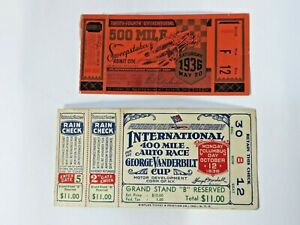 (2) VTG 1936 Auto Race Ticket Stubs Indianapolis 500 & George Vanderbilt Cup