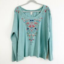 Sundance Womens Green Floral Embroidered Long Sleeve Cotton Tshirt XL