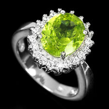 Sterling Silver 925 Genuine Apple Green Peridot Cluster Ring Size K1/2 US 5.5