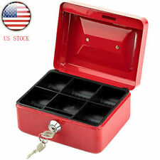 Red Small Safe Box Fire Proof Lock Key Money Gun Jewelry Home Portable Security