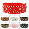 Studded 5 cm Wide Rivet Leather Pet Large Dog Collars German Shepherd Pitbull UK
