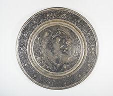 ANTIQUE QAJAR PERSIAN ENGRAVING DISH PLATE FUGURES 23 CM
