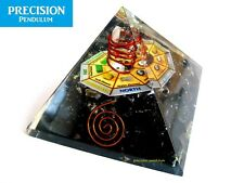 Large Black Tourmaline Orgone Pyramid + Mandala Copper Coil Crystal Quartz Point