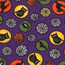 PUMPKIN PARTY PURPLE OWLS SPIDERWEBS BATS HALLOWEEN FABRIC