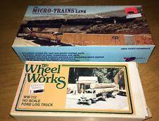 MICRO-TRAINS LINE HO #102 42' SKELETON LOG FLAT CAR KIT, WHEEL WORKS #112 FORD