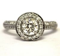 IGI certified 14k white gold 1.67ct round diamond halo engagement ring 4.1g