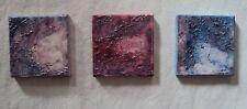 Triptychon abstrakt Gemälde Acryl, 3 x  15 / 15 cm Rot, leichte Struktur