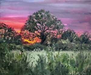 A3 Print of Original oil painting sunset in a Kent meadow landscape impressionst