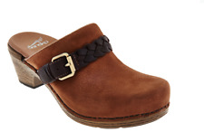 Dansko Nubuck Clogs with Buckle Detail Melanie Amber Milled Nubuck EU37 US 7