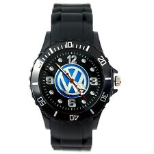 VW Volkswagen Mens SILICONE Black CHROME Dial Sport RACING Car Watch UHR