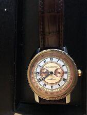 Stauer Watch Brown Leather Band Men Copper White Face Original Box 511