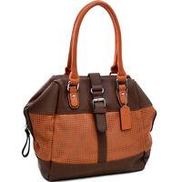 Dasein Mesh Panel Women Leather Handbag Tote Bag Shoulder Bag Travel Purse