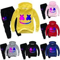 Kids Boys DJ Marshmello Tracksuit Hoodie Hoody Sweashirt Trousers Outfits 2PCS