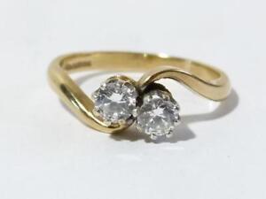 Vintage 9ct Gold 2 Stone Twist Ring UK Size L.1/2, Hmkd 1985 Cubic Zirconia  #R2