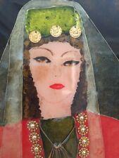 Armenian Woman Bride Traditional Red Green Gold Dress Enamel Art Double Frame