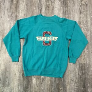 VTG Hanes Activewear Crewneck Sweatshirt Medium Made USA Grandma Green 50/50