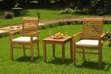 3pc Grade-A Teak Dining Set Sack Side Table 2 Mas Stacking Arm Chair Outdoor