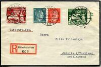 VENN to Jössnitz GERMANY Registered Cover SC# B206 B207 Stamps Postage 1942