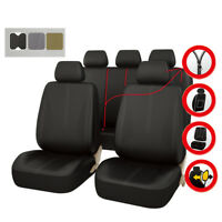 Universal Car Seat Covers Black Leather Airbag Compatible Waterproof For Sedan