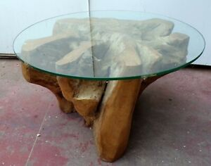 Small Table From Coffee IN Root Of Teak With Glass CMS 80x45h Smoke N 1 Rustic