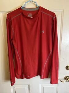 Under Armour Heat Gear Compression  Long Sleeve Shirt Men's Adult Large Red