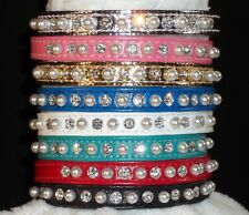 "RHINESTONE DOG COLLAR PET puppy pearl Jewel crystal Bling 3/8"" small stunning!"
