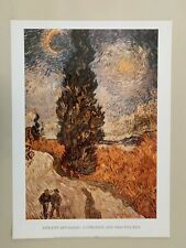 VAN GOGH,'CYPRESSES AND TWO FIGURES ' RARE AUTHENTIC 1990's ART PRINT
